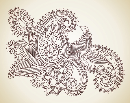 Hand-Drawn Abstract Henna Mendie Flowers Doodle Vector Illustration Design Element  Stock Vector - 11189138