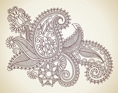 hindi: Hand-Drawn astratta Henna Mendie Fiori Doodle illustrazione vettoriale Design Element