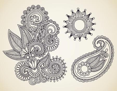 henna design: Dibujado a mano Mendie Resumen Flores Henna Doodle Ilustraci�n Vectorial Dise�o de Elementos