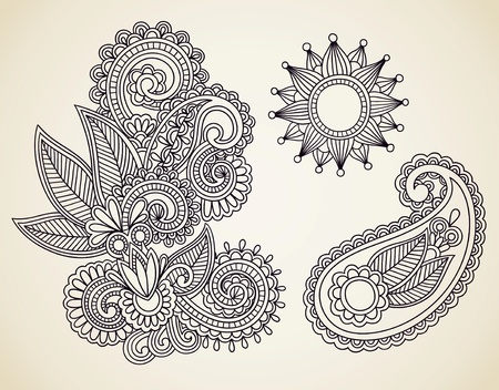 orient: Hand-Drawn Abstract Henna Mendie Flowers Doodle Vector Illustration Design Element