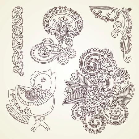 hindi: Disegnati a mano astratto fiori mendie henn� e uccelli doodle elemento illustrazione disegno vettoriale Vettoriali