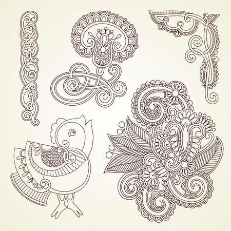 mendie: Hand-drawn abstract henna mendie flowers and bird doodle vector illustration design element  Illustration