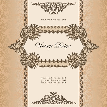 Vintage template with hand draw fantasy flowers  Vector