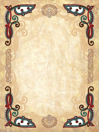 art deco background: Vintage frame in grunge background  Illustration