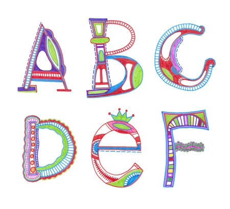alphabet kids: ABC. vector font. Sketchy alphabet design