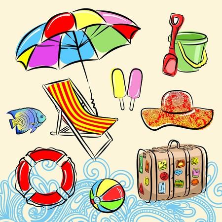 seau d eau: Ensemble Summer beach Illustration