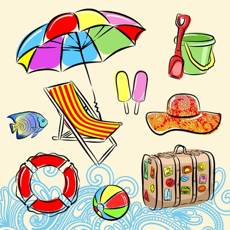 exotic fish: Summer beach set