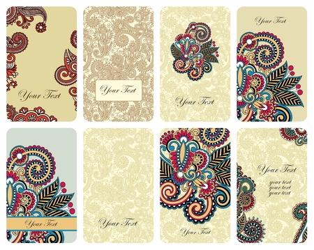 ornamental floral card set  Vector