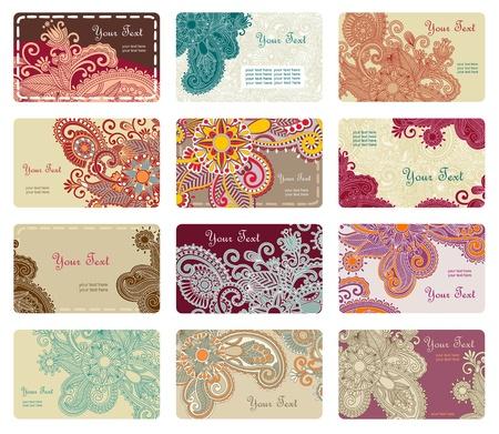 personalausweis: vector floral Visitenkarte Set