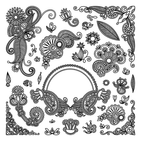 botanics: hand draw black flowers and frames elements  Illustration
