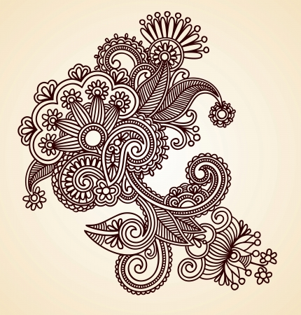 Hand-Drawn Abstract Henna Mendie Flowers Doodle Illustration Design Element Stock Vector - 11189140
