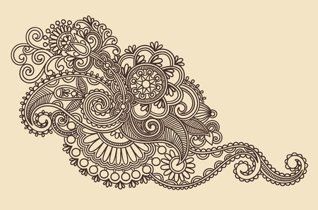 Hand-Drawn Abstract Henna Mendie Flowers Doodle Illustration Design Element  Stock Vector - 11189118