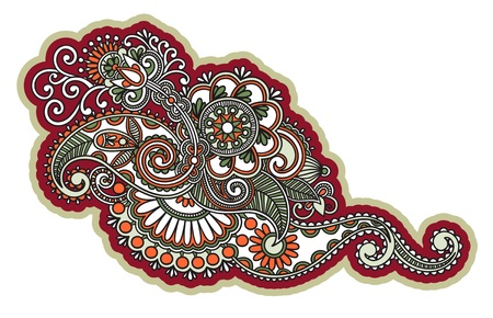 Hand-Drawn Abstract Henna Mendie Flowers Doodle Illustration Design Element  Vector