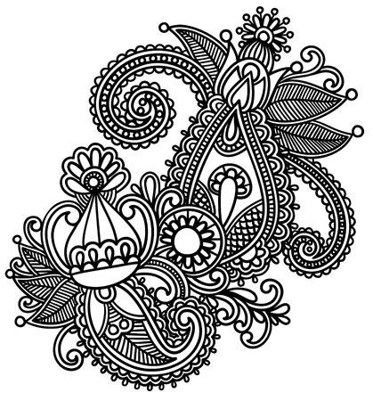 bandana: Hand-Drawn Abstract Henna Mendie Flowers Doodle Illustration Design Element