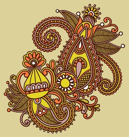 mendie: Hand-Drawn Abstract Henna Mendie Flowers Doodle Illustration Design Element