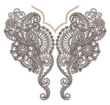 henna pattern: Neckline embroidery fashion