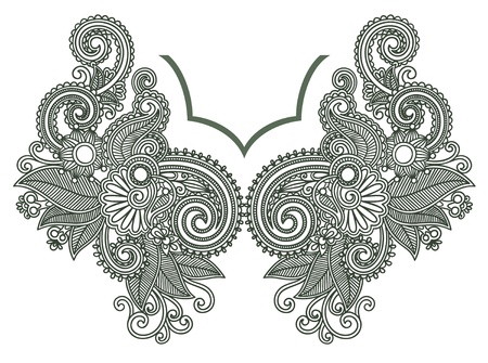 paisley floral: Neckline embroidery fashion