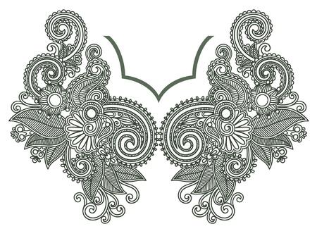 henna: Neckline embroidery fashion