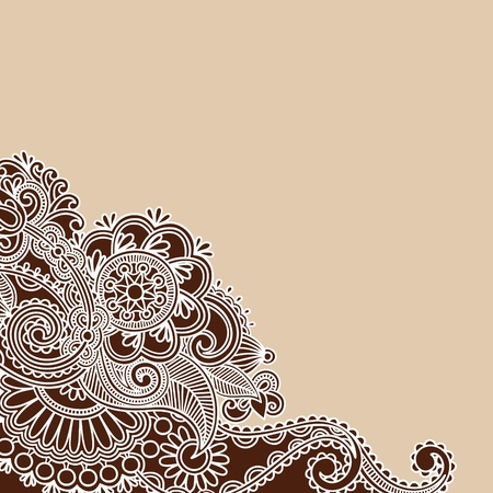 Hand-Drawn Abstract Henna Doodle Vector Illustration Design Element