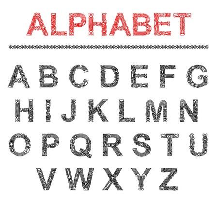 writing lines: ABC. vector font. Ornate alphabet design