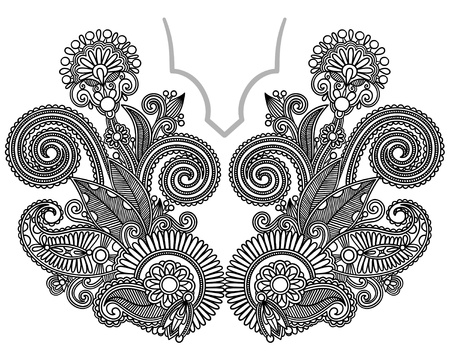 Neckline embroidery fashion Illustration