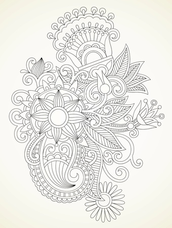 hand draw abstract henna mendie flower design element  Vector