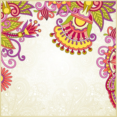 flower decoration: floral ornate background with place for your text  Illustration