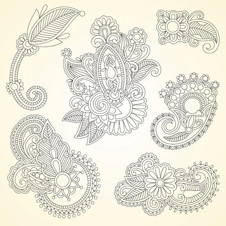 disegni cachemire: Disegnati a mano astratto henn� mendie fiori neri doodle elemento di design Illustrazione