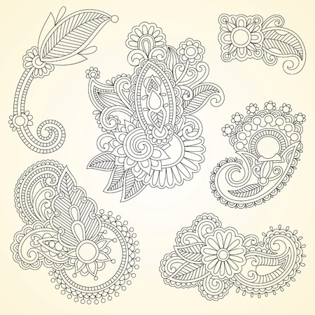 Hand drawn abstract henna mendie black flowers doodle Illustration design element  Vector