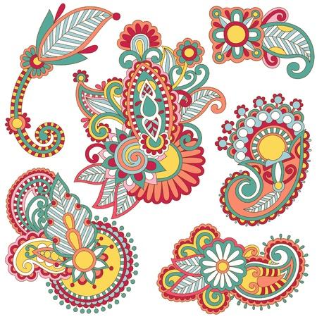 primeval: colored floral ornamental decoration design element. Ukrainian traditional style.
