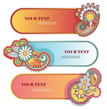 cute graphic: floral banner set with place for your text  Illustration