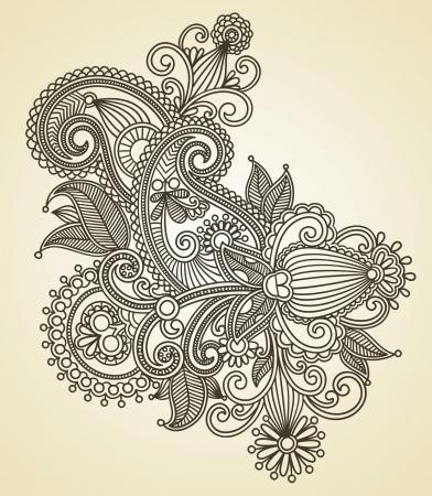 henna design: Dibujar a mano la l�nea de arte del dise�o de flores ornamentales. Estilo tradicional ucraniana. Vectores