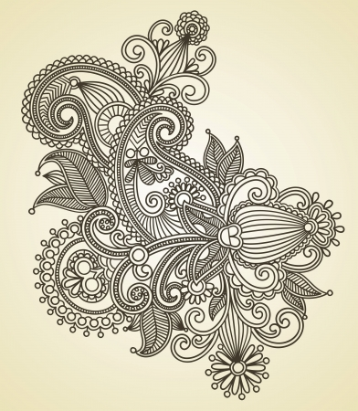 henna pattern: Hand draw line art ornate flower design. Ukrainian traditional style. Illustration