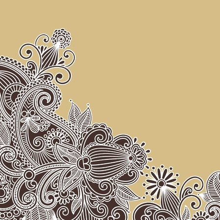 henna pattern: Hand-Drawn Abstract Henna Doodle Vector Illustration Design Element
