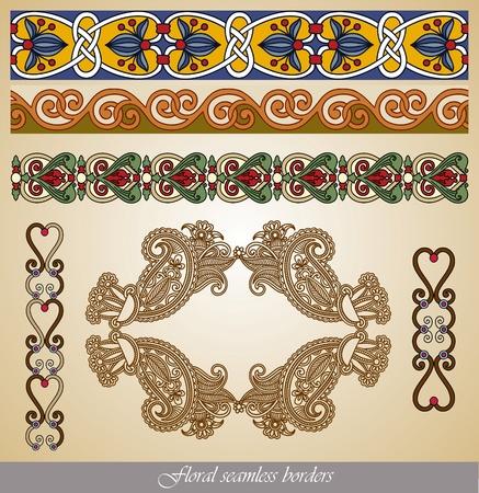 Floral seamless stripe pattern set  Vector