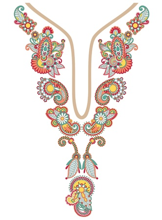 kashmir: Neckline embroidery fashion Illustration