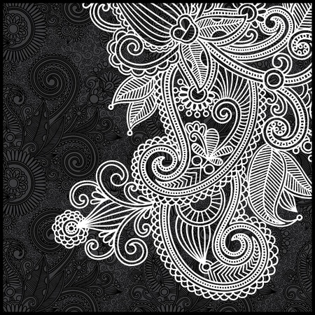 black and white floral pattern  Illustration