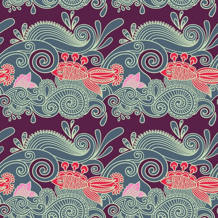 seamless pattern with fish and wive  Stock Vector - 11189558