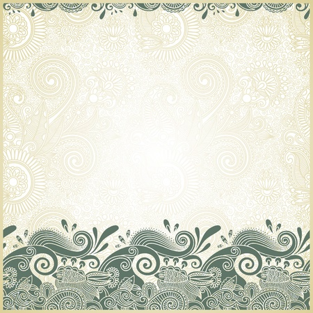 fish and wive ornamental stripes in floral background  Vector
