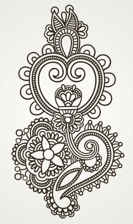 mendie: Hand draw line art ornate flower design. Ukrainian traditional style. Illustration