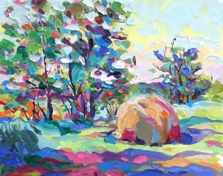 impressionism: oil painting vector illustration. I, the Artist, owns the copyright