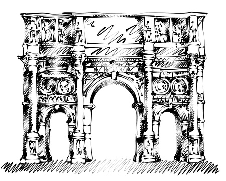 triumphal: hand drawn line art triumphal arch of Constantine in Rome