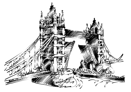 monument historical monument: hand draw line art of London Bridge  Illustration