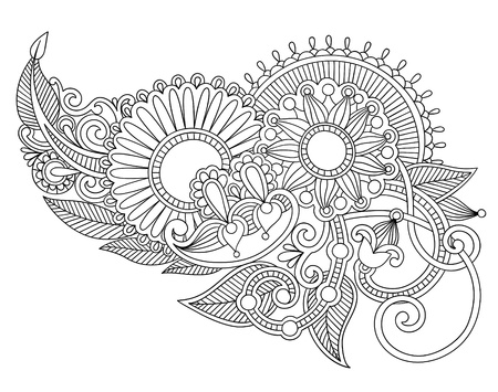 hindi: Mano disegnare line art ornato di fiori di progettazione. Ucraino stile tradizionale