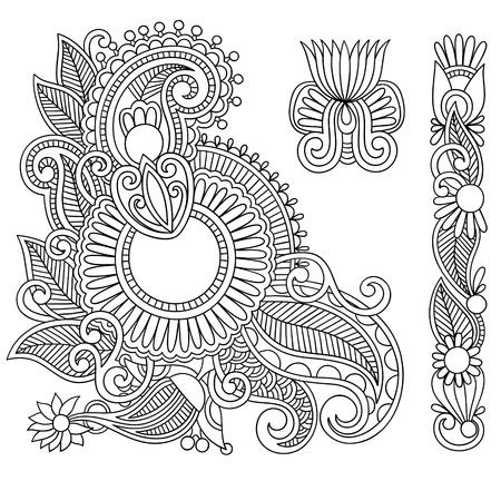 intricate: Hand drawn abstract henna mehndi black flowers doodle Illustration design element  Illustration