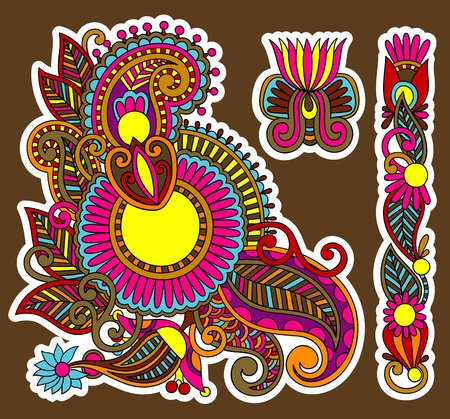 colored floral ornamental decoration design element. Ukrainian traditional style Vector