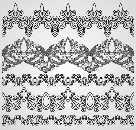 adornment: hand draw black flowers ornaments  Illustration