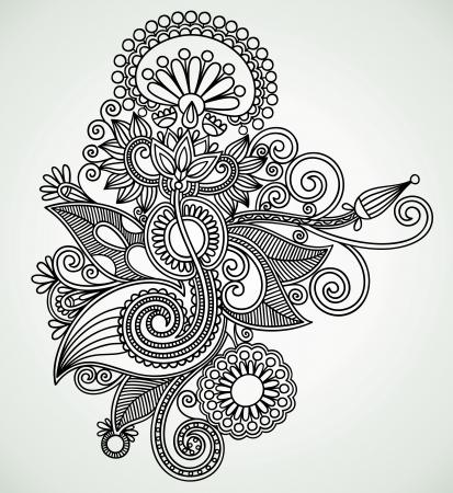 Hand draw line art ornate flower design. Ukrainian traditional style. Stock Vector - 11635068