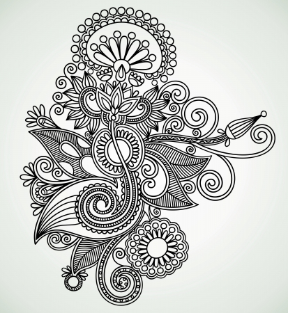hindi: Hand draw line art ornate flower design. Ukrainian traditional style.  Illustration