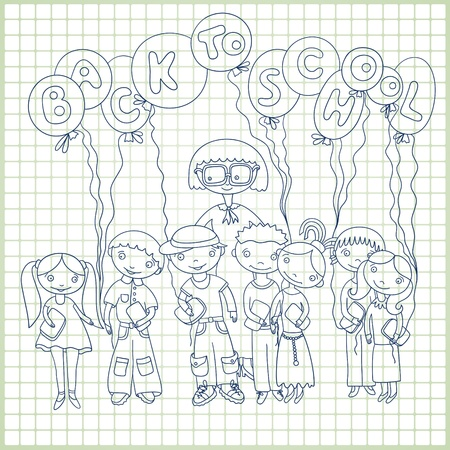 Group of schoolchildren and their teacher with balloons with text 'back to school' on paper in a cell background. Sketchy vector Vector